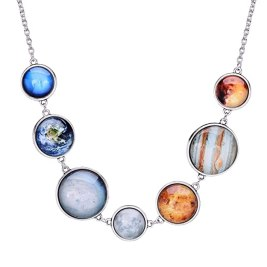 QILMILY The 7 Planet Necklace Astronomy Necklace with Planets Double-Sided Planet Necklace Handmade Gift