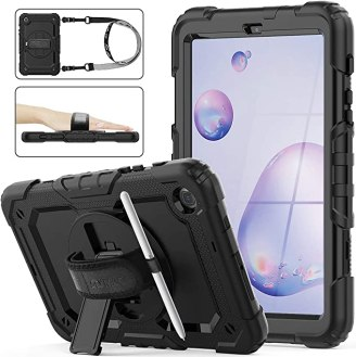 Galaxy Tab A 8.4 Case [ONLY T307/T307U ], Three Layer Hybrid Drop Protection Case with [360 Rotating Stand] Hand Strap &[Screen Protector] for Samsung Galaxy Tab A 8.4 Model SM-T307 (2020) - Black