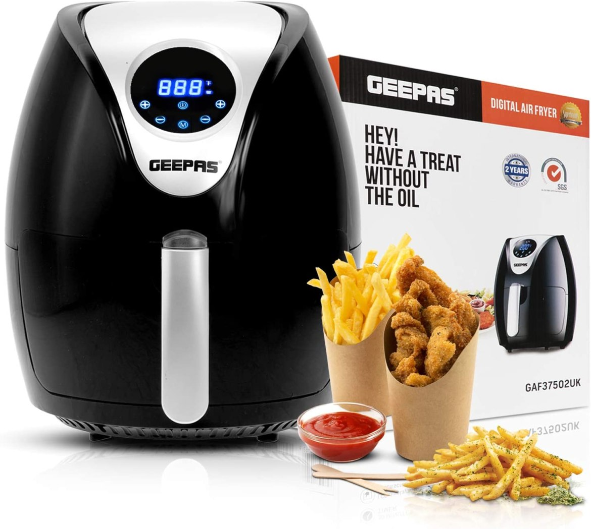 Geepas 1350W Digital Air Fryer 3.2L Hot Air Circulation Technology for Oil  Free Low Fat Dry Fry Cooking Healthy Food – Non-Stick Basket, Dishwasher  Safe, Overheat Protection - 2 Years Warranty: Amazon.co.uk:
