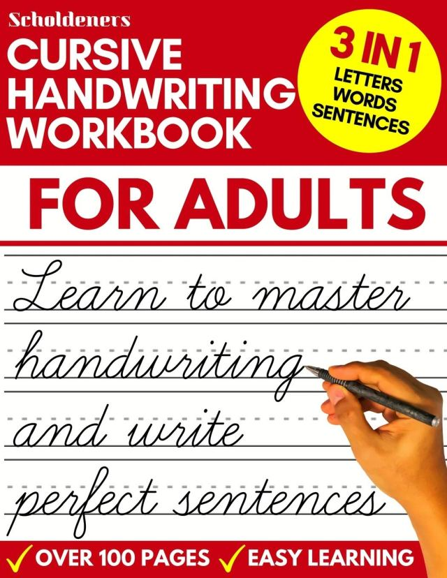 Cursive Handwriting Workbook for Adults: Learn Cursive Writing for