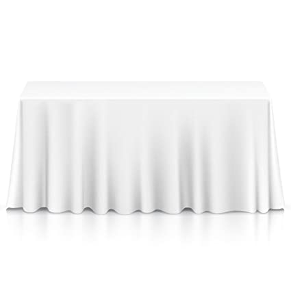 Amazon Com Lanns Linens  Premium Tablecloth For Wedding Banquet Restaurant Rectangular Polyester Fabric Table Cloth White Home Kitchen