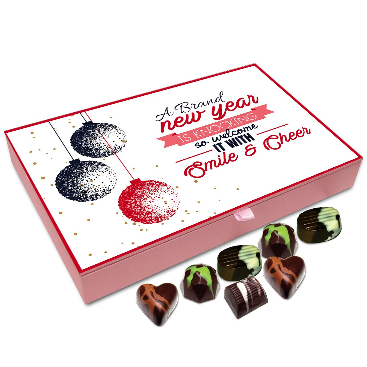 Chocholik New Year Gift Box – New Year is Knocking The Door So Welcome It with Smile Chocolate Box – 12pc