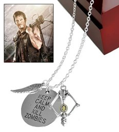 "Walking Dead Daryl Crossbow Wing Pendant Necklace ""Keep Calm & Kill Zombies"" - Zombie Killer 24"" Necklace"