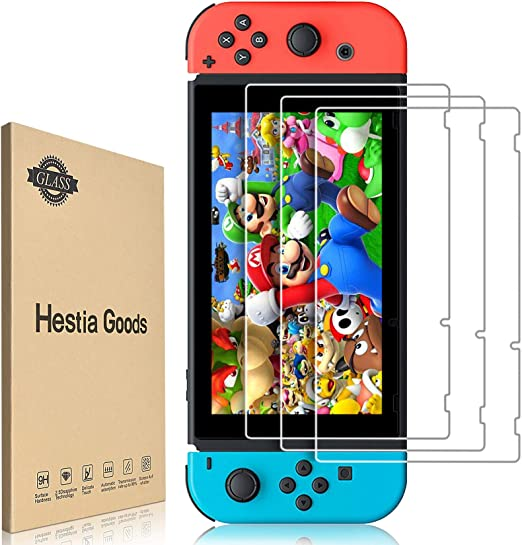 [3 Pack]Hestia Goods Tempered Glass Screen Protector for Nintendo Switch - Transparent HD Clear Anti-Scratch Screen Protector for Nintendo Switch
