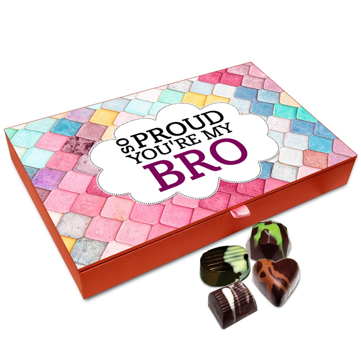 Chocholik Rakhi Gift Box – Affectionate Sibling Love Chocolates for Brother – 12pc