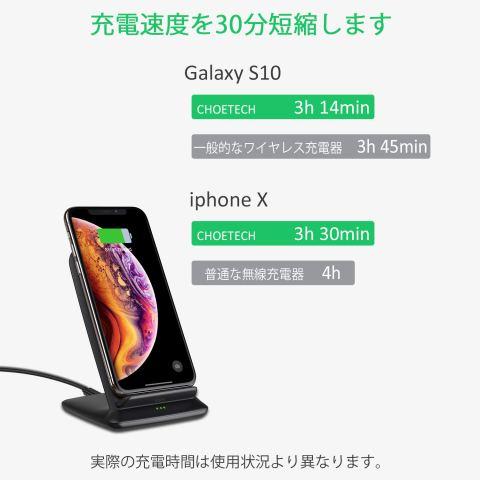 Qi ワイヤレス充電器 10W/7.5W/5W 二つのコイル Qi認証済み急速無線充電器 iPhone8 XS/XS Max、Galaxyシリーズ 他Qi対応機種 置くだけの充電器