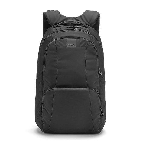 "Pacsafe Metrosafe LS450 25 Liter Anti Theft Laptop Backpack - with Padded 15"" Laptop Sleeve, Adjustable Shoulder Straps, Patented Security Technology (Black)"