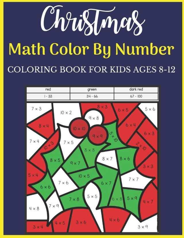 Christmas Math Color By Number Coloring Book For Kids Ages 19-19