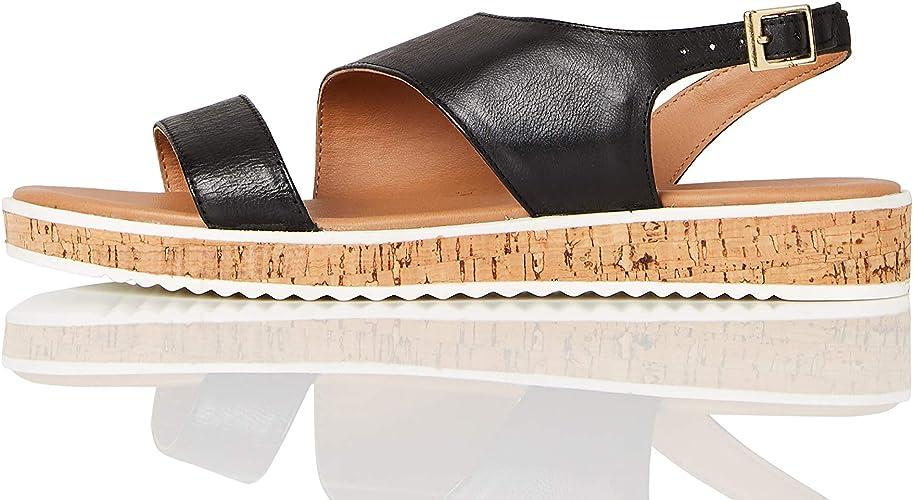 Amazon - find. Assymetric Cork Sole Leather - Sandalias con plataforma plana