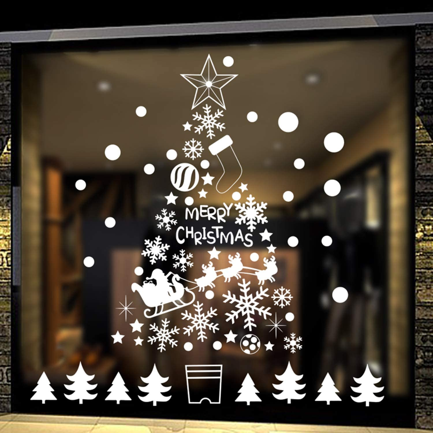 Amazon Com Diy Christmas Tree Window Stickers White Snowflakes Window Clings Wall Decal Removable Christmas Deers Window Decorations Snowflakes Santa Claus Glass Sticker For Christmas Window Display Decoration Home Kitchen