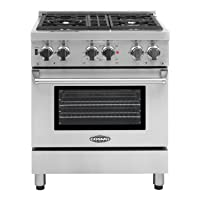 Cosmo COS-DFR304 30 in. Freestanding Professional Style Dual Fuel Range with 3.9 cu. ft. Electric Oven with Turbo True European Convection, 4 Italian Made Burners, Cast Iron Grates, in Stainless Steel