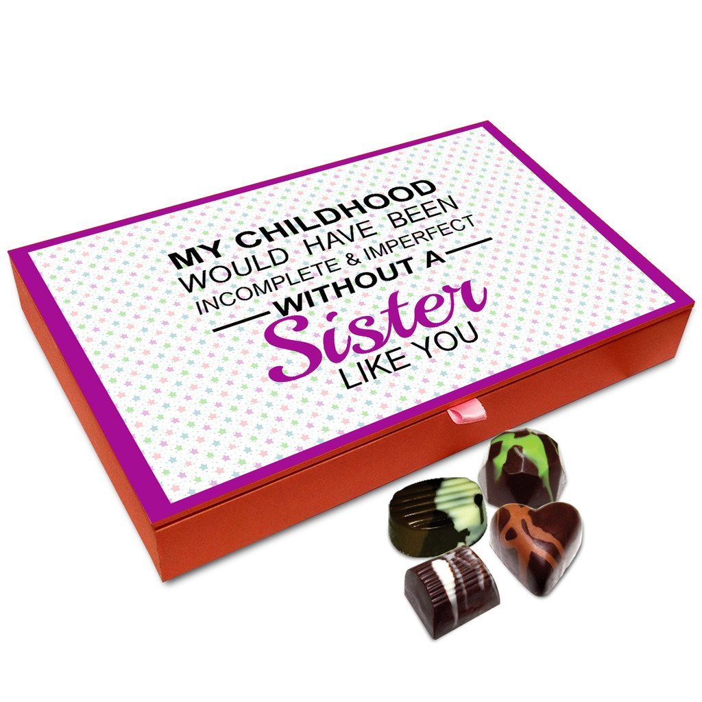 Chocholik Rakhi Gift Box – My Childhood is Incomplete Without My Sister Chocolate Box for Sister – 12pc