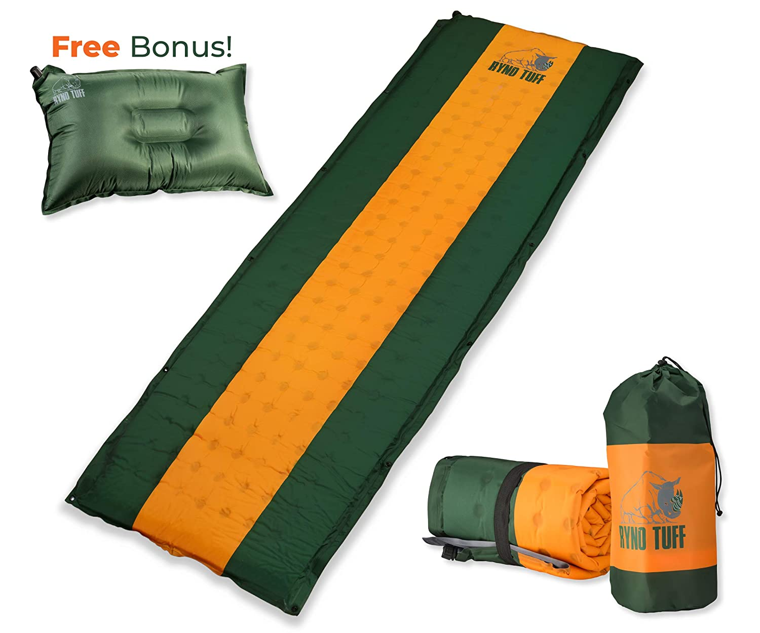 Ryno Tuff Sleeping Pad Set, Self Inflating Sleeping Pad with Free Bonus Camping Pillow