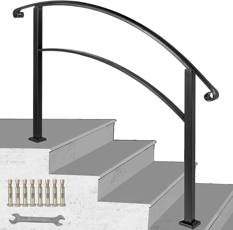 Happybuy 4 Step Handrail Fits 1 Or 4 Steps Matte Black Stair Rail | Vinyl Railings For Outside Steps | Balusters | Composite | Wood | Precast Concrete Steps | Railing Installation
