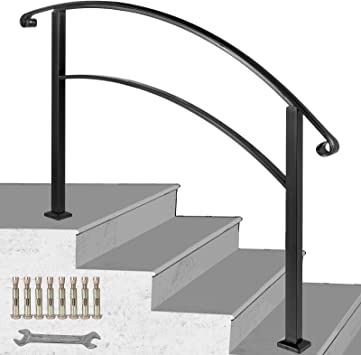 Happybuy 4 Step Handrail Fits 1 Or 4 Steps Matte Black Stair Rail | Black And White Stair Railing | Wall | Wrought Iron | Handrail | Victorian | Contemporary