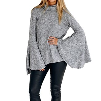 Women Turtleneck Long Bell Sleeve Top Casual Jumper Pullover Sweater