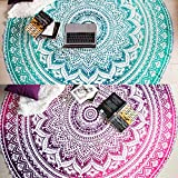 Mandala Tapestry Round Beach Towels or Beach Blanket, Set of 2 Hippie Boho Mandala Tapestry, Indian Circle Tablecloth or Rug, Large Cotton Bohemian Yoga Mat for Meditation - 72 Inches, Green and Pink