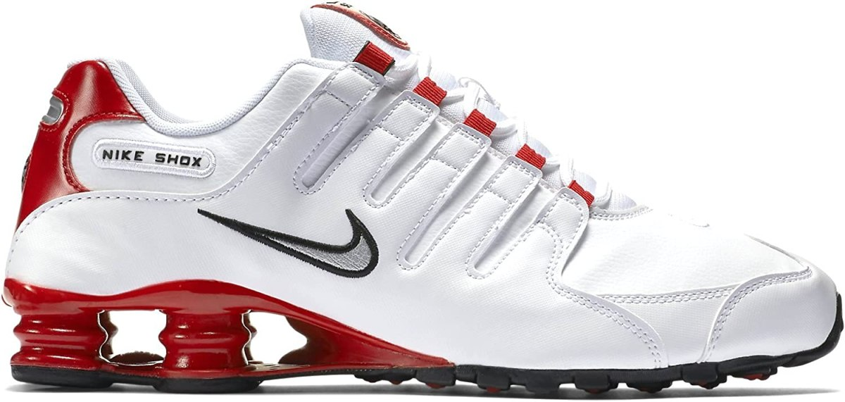 Nike Mens Shox NZ Running Shoes White/Met Silver/University Red 378341-110 Size 12