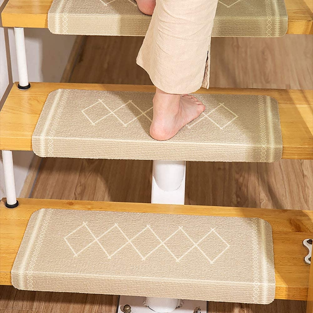Amazon Com Lwyj Team Carpet Stair Treads Set Of 7 Non Slip Stair   Beige Carpet On Stairs   Living Room   Art Deco   Design   Pattern   Builder Grade