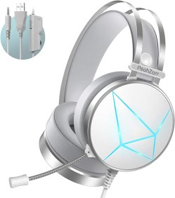 PeohZarr Gaming Headset PS4 Headset Xbox One Headset with Surround Sound White PC Gaming Headset with Clear Mic & Large Ear Pads for Xbox One (Adapter Not Included), PS4, PC, Nintendo Switch, Laptop