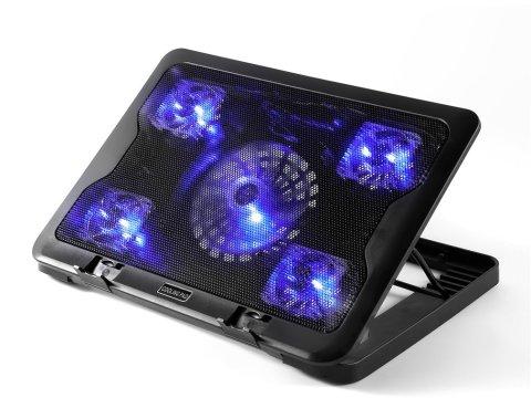 ノートパソコン 冷却パッド 冷却台 ノートPCクーラー 薄型 超静音 5ファン 2口USBポート LED搭載 切替スイッチ付 高度調節可 風量調節可17インチまで対応 ブラック (5ファン)