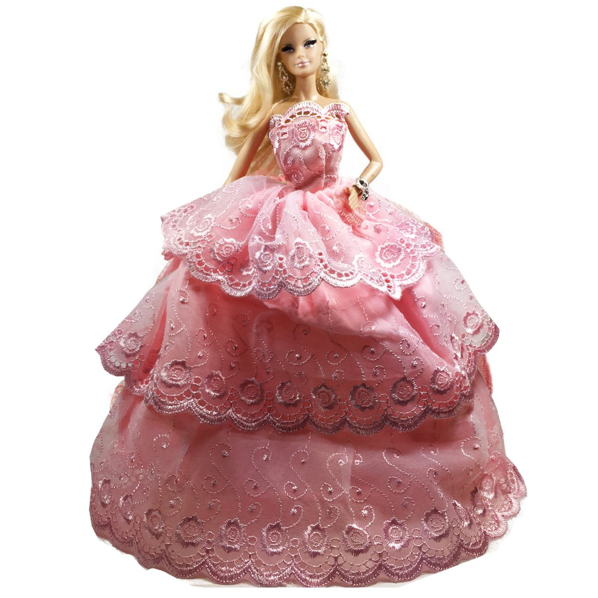 Barbie Pink Ball Gown Wedding Dress with Tiered Lace Trim Skirt Gown