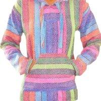 Baja Hoodie Rainbow Mexican Drug Rug Pullover Poncho Sweatshirt
