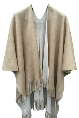 Women's Blanket Winter Knitted Cashmere Tassel Cardigans Scaft Shawl Poncho Cape (Beige/Khaki)