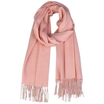 Lanzom Women Soft Cashmere Blanket Scarf Tassel Solid Color Warm Shawl Scarf (Pink)