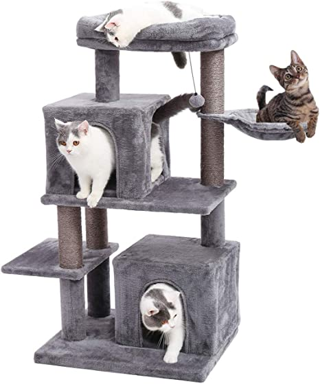 Eono By Amazon Cat Tree Cat Tower Sisal Scratching Post Double Plush Condo Playhouse With Bed Nest Perch Platform Dangling Toys Cats Activity Centre For Kittens Grey Amazon Co Uk Pet Supplies