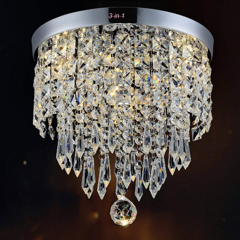 CRYSTA WORLD Made in India Chandelier Luxury Light Lamp Round Crystal Rain Drop Pendant Light Fixture for Living Room Bedroom.(3 in 1) HOME DECOR