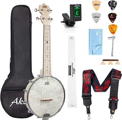 Amazon.com: AKLOT Banjo Ukulele Concert 23 inch Remo Drumhead Open ...