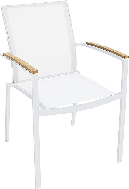 Amazon Com Whiteline Modern Outdoor Living White Sanctuary Contemporary Outdoor Dining Chair 4 Piece Set Garden Outdoor
