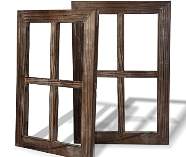 Amazon Com Cade Rustic Wall Decor Window Barnwood Frames Farmhouse Decoration For Bedroom Living Room Bathroom Kitchen Office And More 2
