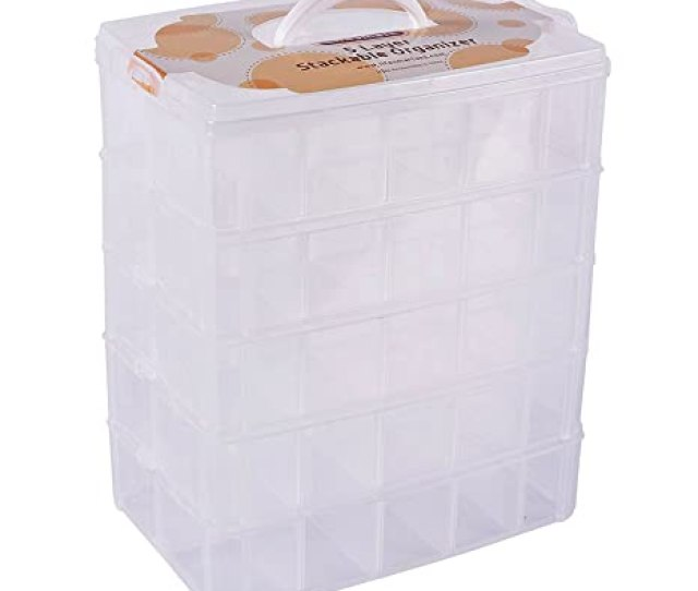 Lifesmart Usa Stackable Storage Container Clear 50 Adjustable Compartments Store More Than Other Cases