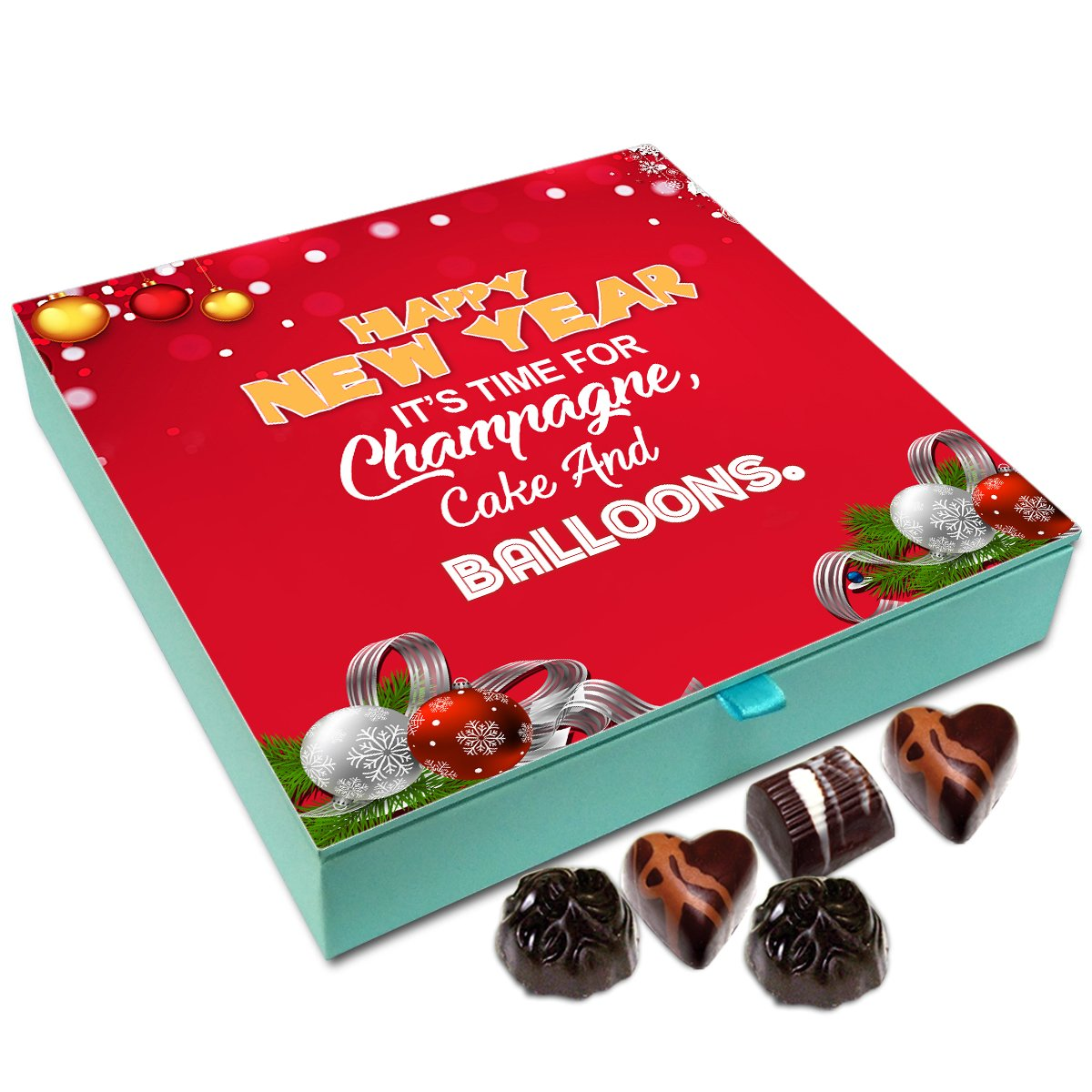 Chocholik New Year Chocolate Box – New Year is The Time for Champagne Cake and Balloons Chocolate Box – 9pc
