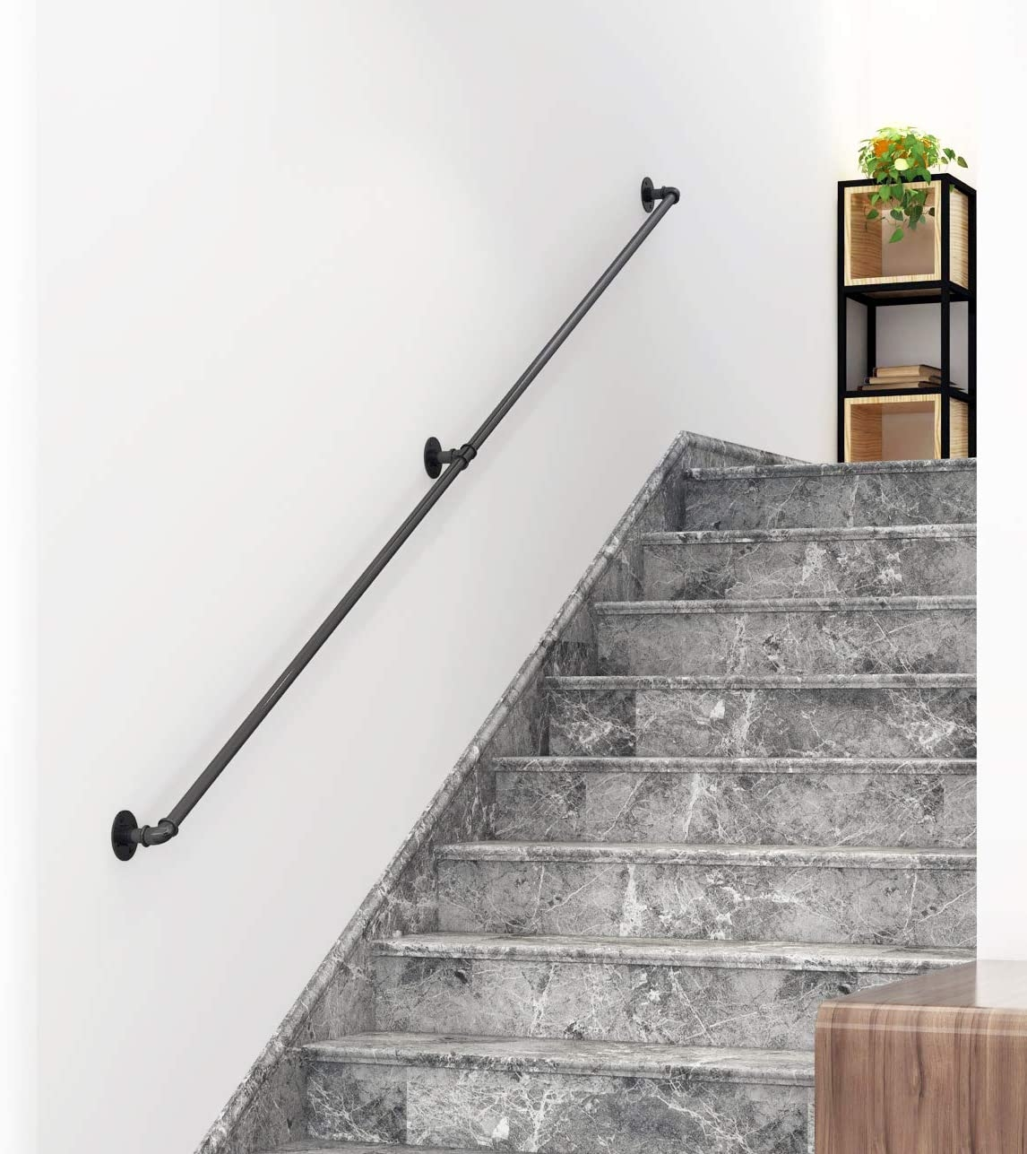 Diyhd 6 6Ft Stair Black Pipe Handrail With 3 Wall Mount Supports | Attaching Handrail To Wall | Stair Parts | Brick | Wood | Staircase | Scr*W