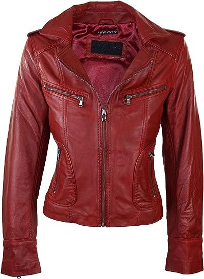 Perfecto Femme Blouson Cuir véritable Style Biker Rock Violet Rouge Coupe cintrée Slim