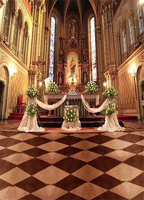 Amazon Com Aofoto 6x8ft Retro Church Backdrop Wedding Photography Background Elegant Flower Curtain Mosaic Floor Lovers Bridal Adult Artistic Portrait Cathedral Photo Shoot Studio Props Video Drop Seamless Vinyl Camera