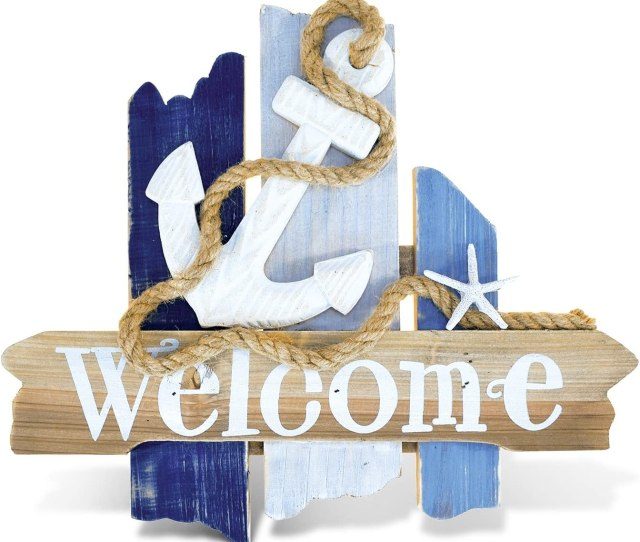 Amazon Com Ll One Piece White Blue Indoor Outdoor Anchor Welcome