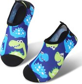 JIASUQI Baby and Kids Athletic Sneakers Barefoot Water Shoes for Beach Swim Pool Green Dinosaur, 8-8.5 M US Toddler