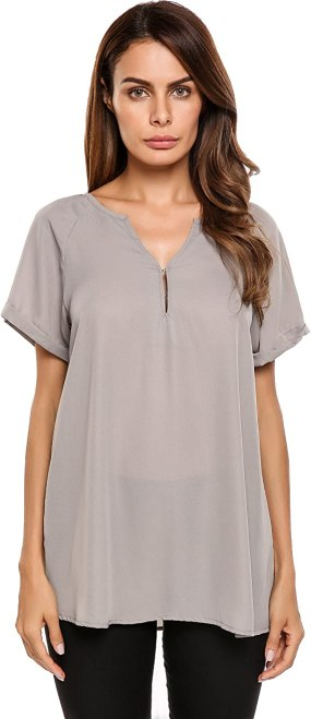 Zeagoo Women Chiffon Casual Blouse Ruched V Neck Rolled Short Sleeve Top Shirts