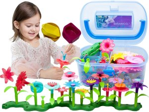 BIRANCO. Flower Garden Building Toys – Build a Bouquet Floral Arrangement Playset for Toddlers and Kids Age 3, 4, 5, 6 Year Old Girls Pretend Gardening Gifts (120 PCS)
