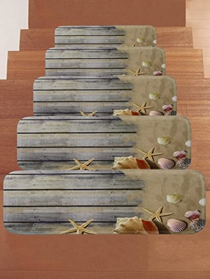 Amazon Com Wchuang Gray Wood Stair Treads Non Slip Carpet Beach   Amazon Outdoor Stair Treads   Non Slip   Self Adhesive   Mat   Treads Carpet   Indoor Outdoor