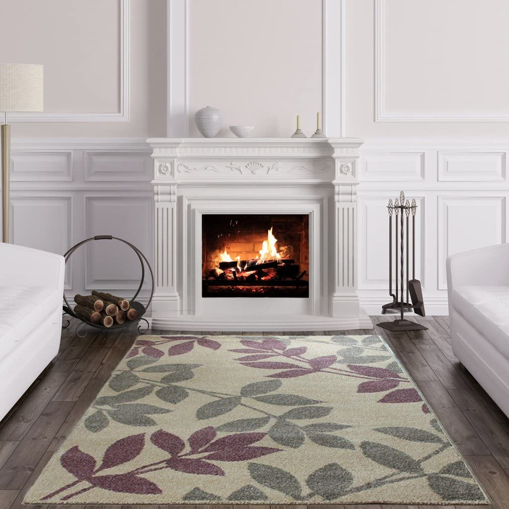 Focus Modern Grey Purple Beige Soft Easy Living Floral Leaf Living Room Rug Amazon Co Uk Kitchen Home