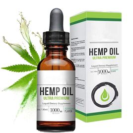 FabQuality Hemp Oil Drops 1000mg, 100% Natural Extract, Anti-Anxiety and Anti-Stress, Natural Dietary Supplement, Rich in Omega 3 & 6 Fatty Acids for Skin & Heart Health,Vegan Friendly