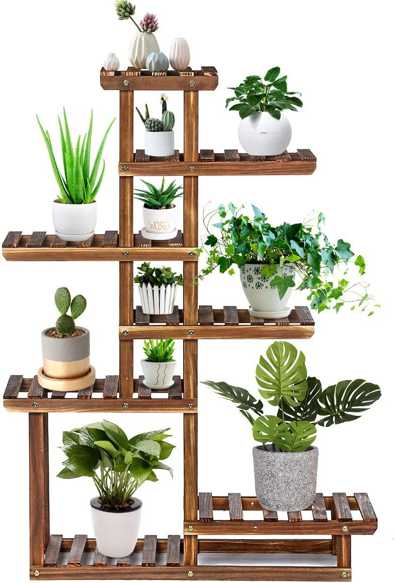 Amazon Com Tooca Wood Plant Stand Indoor 44 7 Tier Outdoor Tall Plant Stand Flower Pot Stand Multiple Tier Plant Display Rack Holder Steady Vertical Carbonized Shelves For Patio Livingroom Balcony Garden