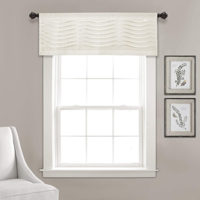 Box pleat valance curtains for kitchen
