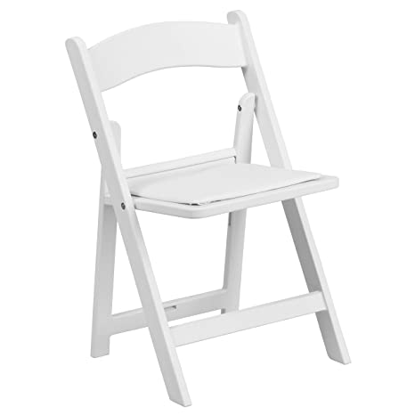Amazon Com Flash Furniture Kids White Resin Folding Chair With White Vinyl Padded Seat Kitchen Dining