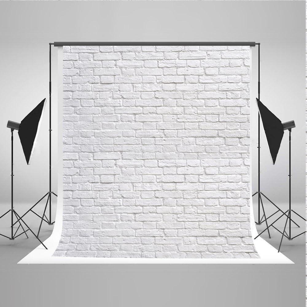 WaW 1.5x2.2m Toile Fond Photo Blanc Brique Mur Fond de Photographie pour Noel Portrait Photoshoot